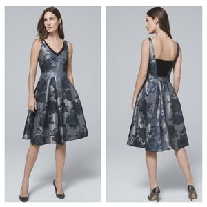 WHBM JACQUARD FIT-AND-FLARE DRESS